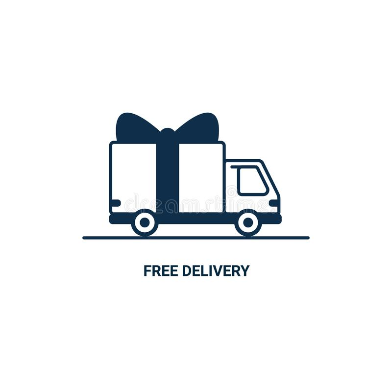 Linea icona di consegna gratuita La linea sottile ha disegnato il camion di consegna con l'arco isolato su fondo bianco Servizio  illustrazione vettoriale