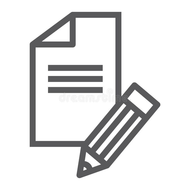 Linea icona di Copywriting, blog e contenuto, segno dello scrittore, grafica vettoriale, un modello lineare su un fondo bianco illustrazione di stock