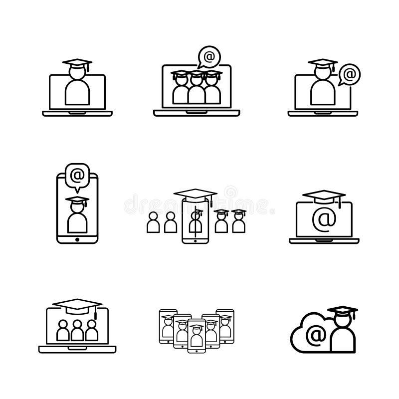 Linea icona di e-learning Simbolo online di istruzione di Internet cappuccio di graduazione sullo schermo del computer portatile  illustrazione vettoriale