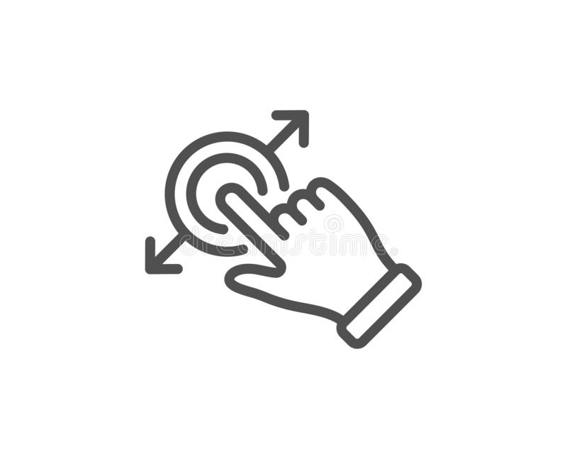 Linea icona di gesto dello schermo attivabile al tatto Segno della freccia di goccia e di resistenza Azione del colpo Vettore illustrazione di stock