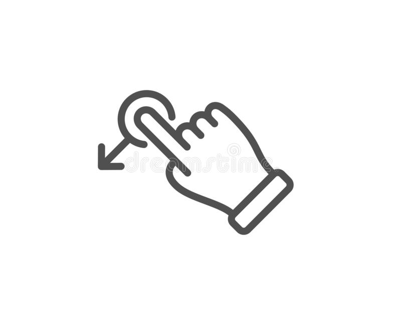 Linea icona di gesto di goccia di resistenza Segno della freccia dello scorrevole Azione del colpo Vettore illustrazione vettoriale