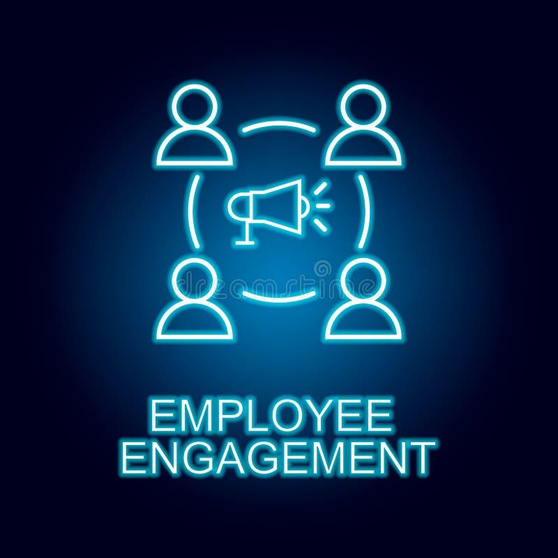 linea icona di impegno degli impiegati nello stile al neon Elemento dell'icona delle risorse umane per i apps mobili di web e di  illustrazione vettoriale