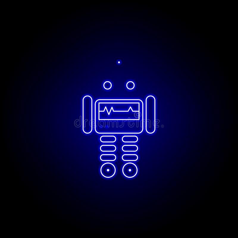 linea icona di medico del robot nello stile al neon blu I segni ed i simboli possono essere usati per il web, logo, app mobile, U illustrazione vettoriale