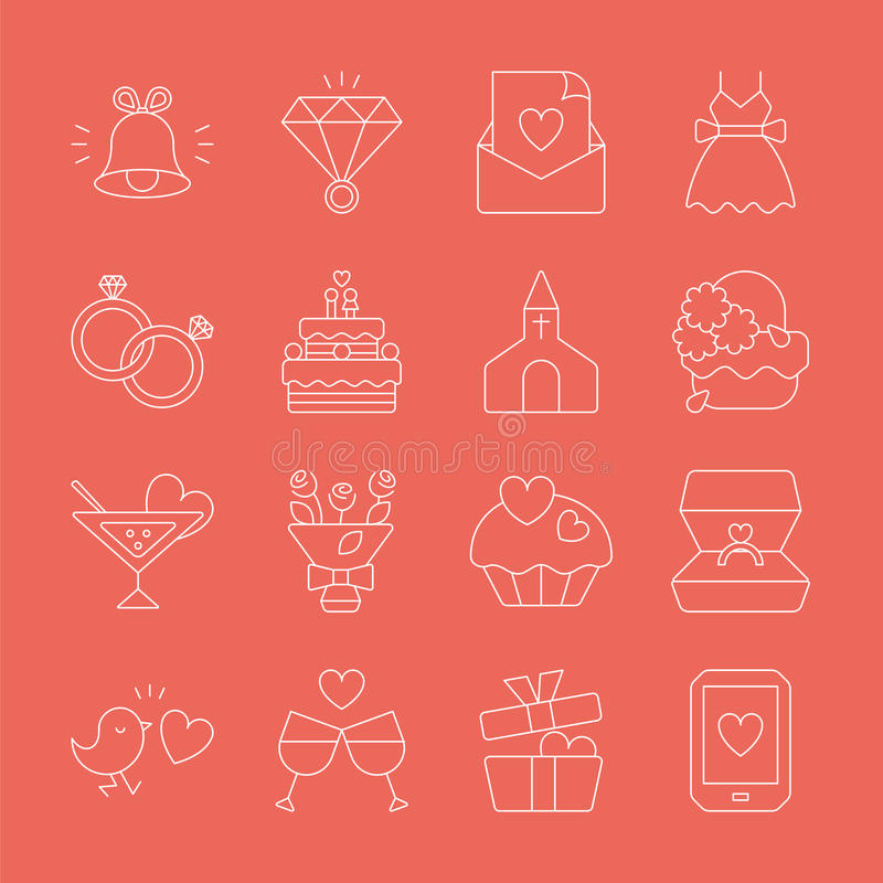 Linea icona di nozze immagine stock libera da diritti