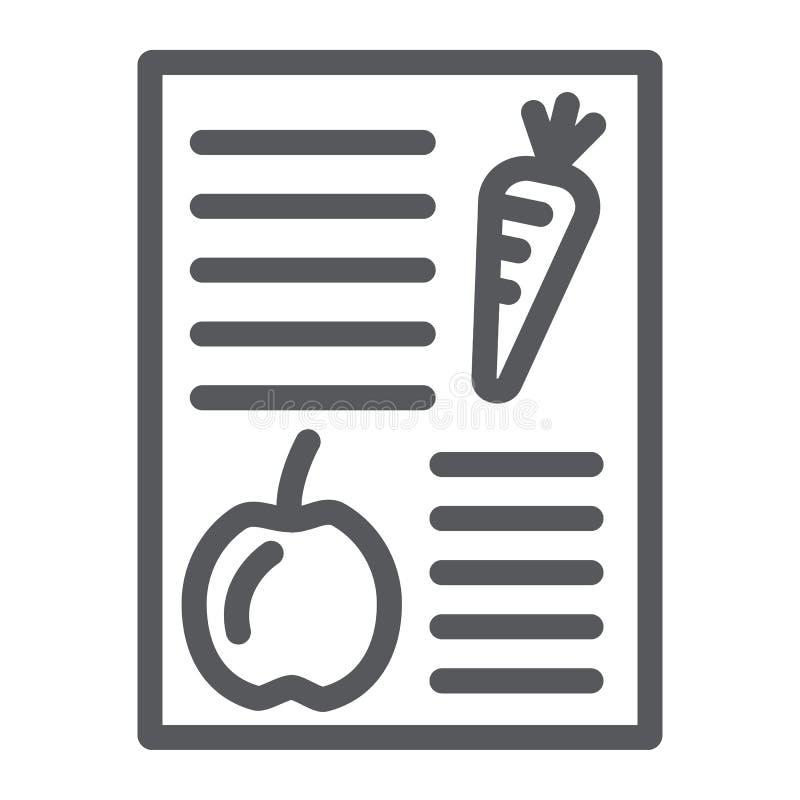 Linea icona di piano di dieta, salute e pasto, segno equilibrato del pasto, grafica vettoriale, un modello lineare su un fondo bi illustrazione di stock