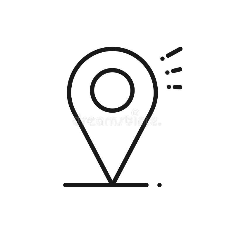 Linea icona di posizione Segno e simbolo del puntatore del perno della mappa nearsighted illustrazione di stock