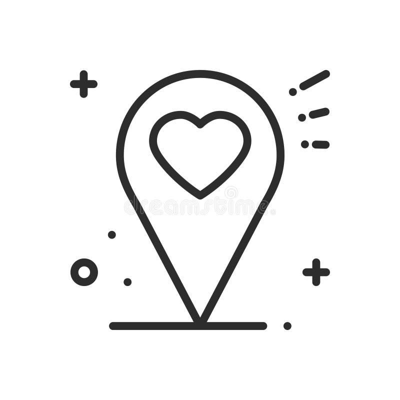 Linea icona di posizione Segno e simbolo del puntatore del perno della mappa nearsighted Figura del cuore illustrazione di stock