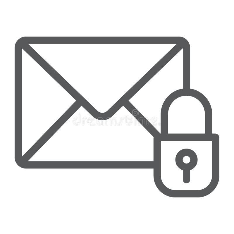 Linea icona di protezione del email, posta e sicurezza, segno della busta, grafica vettoriale, un modello lineare su un fondo bia illustrazione vettoriale