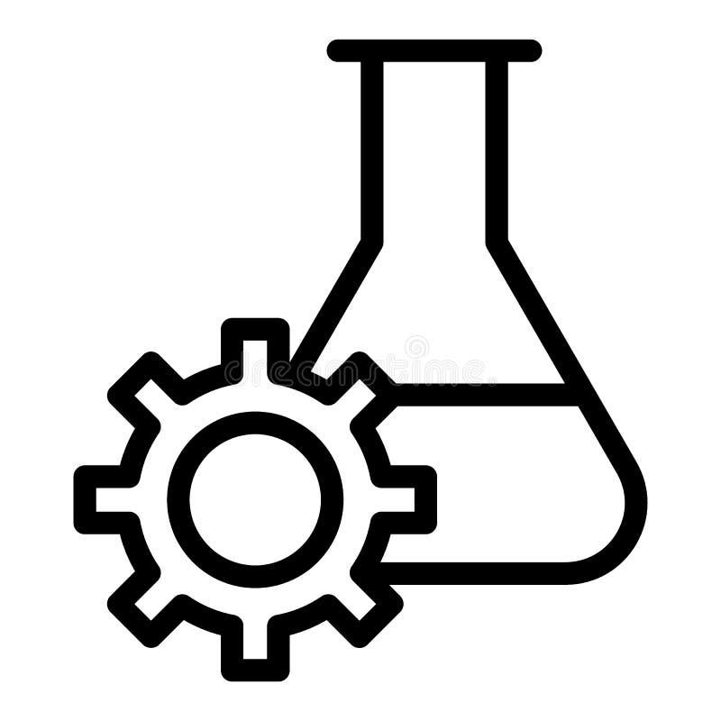 Linea icona di ricerca di esperimento La boccetta e l'ingranaggio del laboratorio vector l'illustrazione isolata su bianco Profil illustrazione di stock