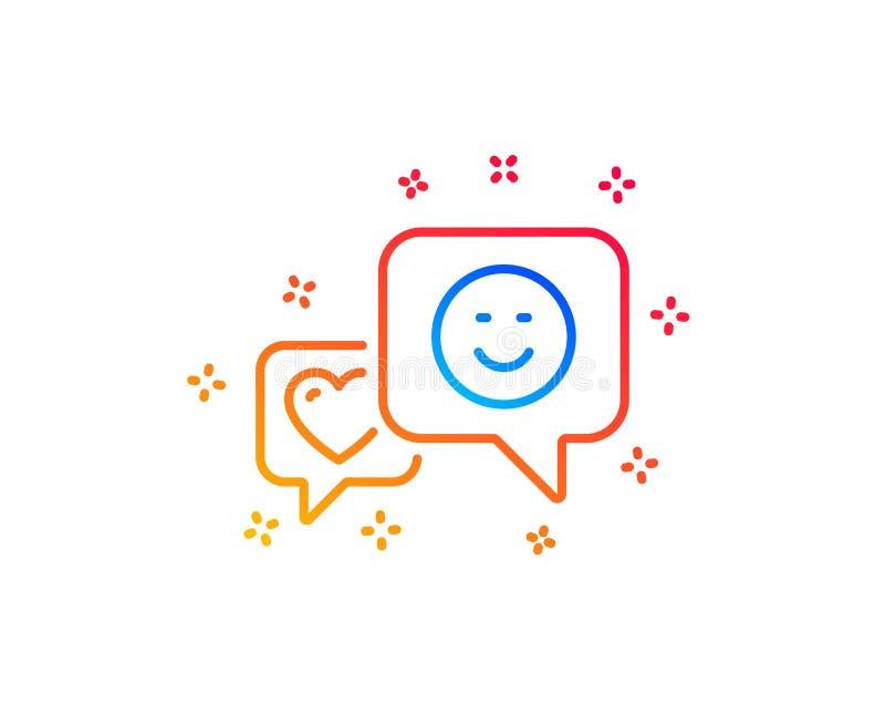 Linea icona di sorriso e del cuore Favorito come il segno Vettore illustrazione di stock