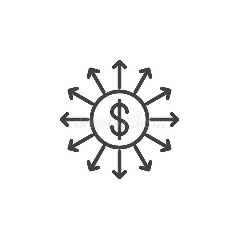 Linea icona di uscita di capitali royalty illustrazione gratis
