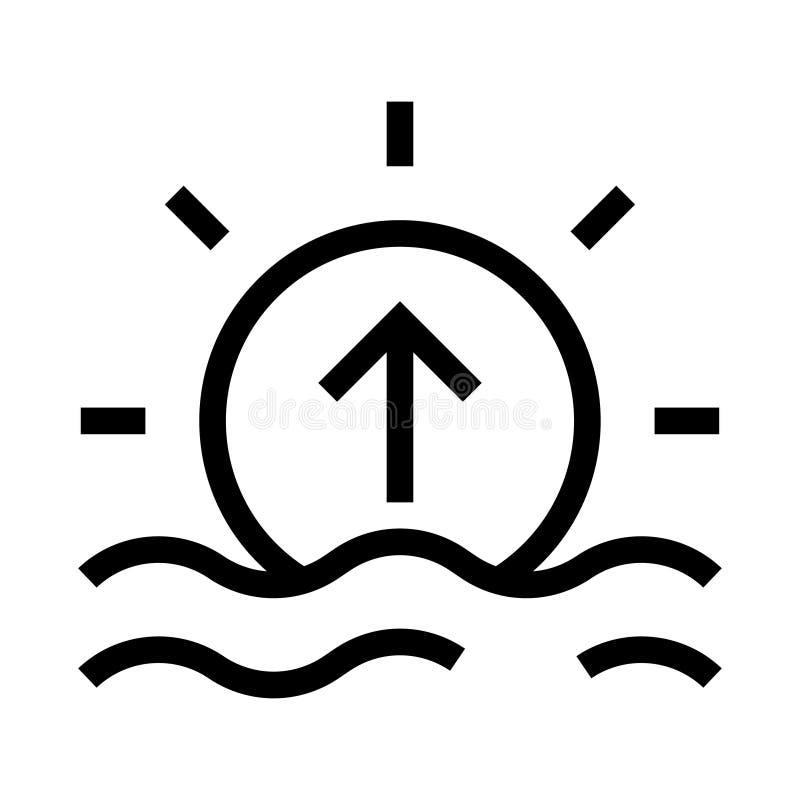 Linea icona di vettore di aumento di Sun illustrazione vettoriale