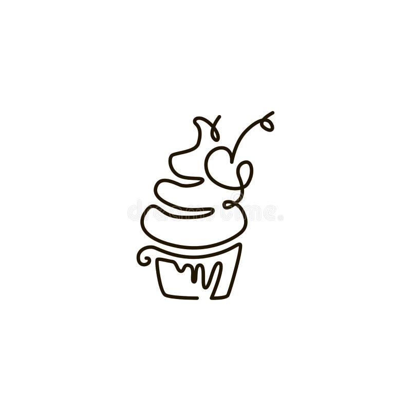 Linea icona di vettore cupcake Un disegno a tratteggio Isolato su priorità bassa bianca royalty illustrazione gratis