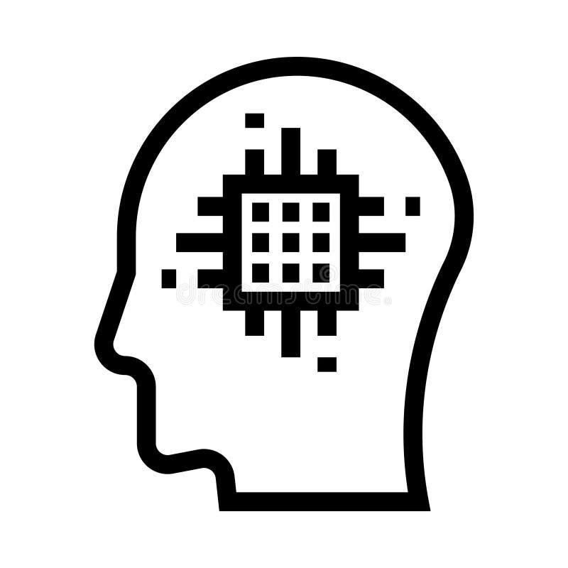 Linea icona di vettore del chip di mente illustrazione vettoriale