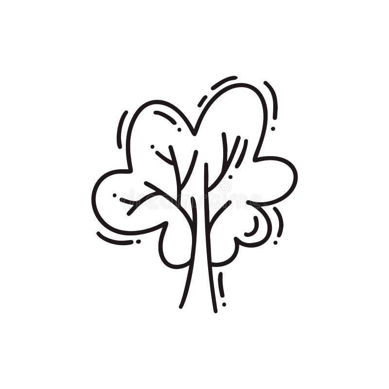 Linea icona di vettore dell'albero Illustrazione stilizzata di monoline Emblema del profilo nello stile lineare logo astratto per illustrazione di stock