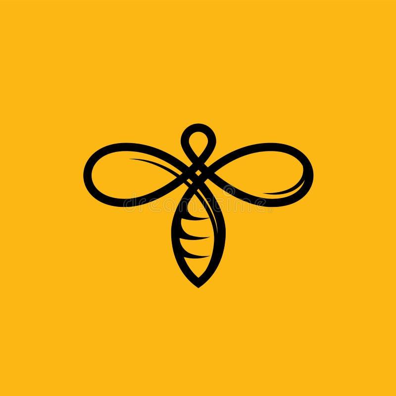 Linea icona di vettore dell'ape di giallo per apicoltura del miele illustrazione di stock