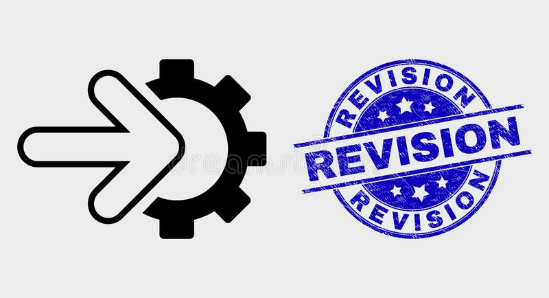 Linea icona di vettore dell'ingranaggio di integrazione e bollo di revisione di emergenza illustrazione di stock