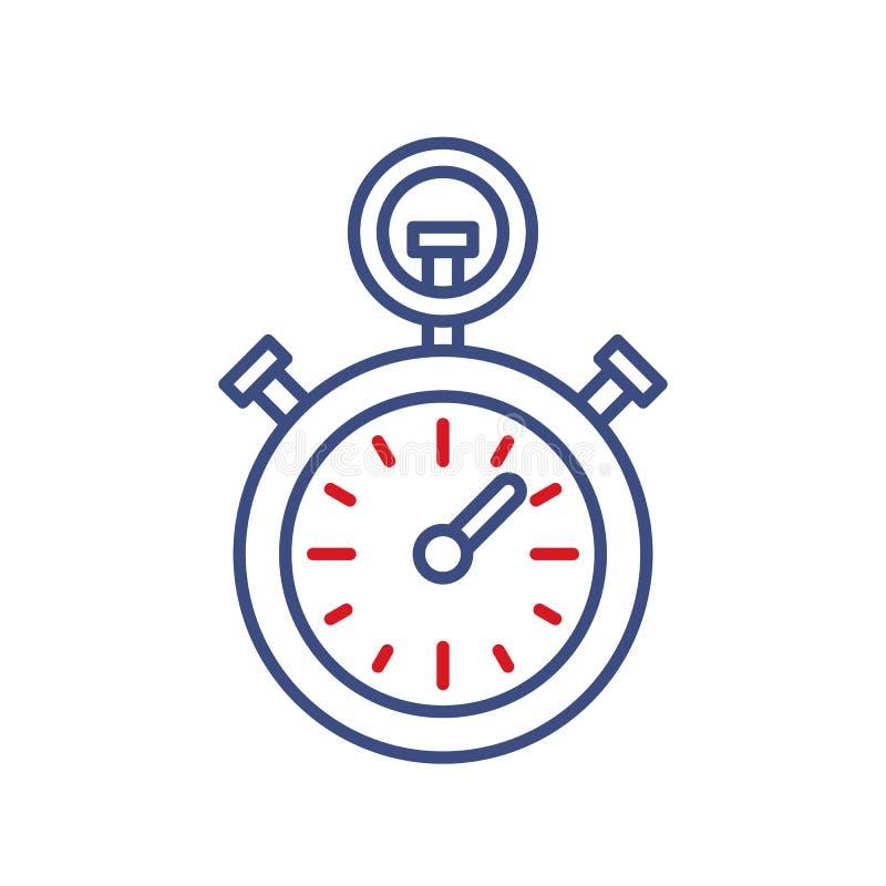 Linea icona di vettore dell'orologio del temporizzatore Segno del cronometro di campionato di sport Illustrazione del cronometro illustrazione vettoriale
