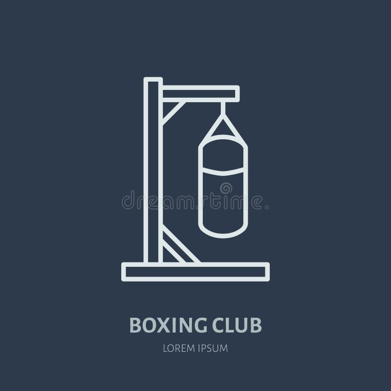 Linea icona di vettore di pugilato Logo del punching ball, segno dell'attrezzatura Illustrazione della competizione sportiva royalty illustrazione gratis