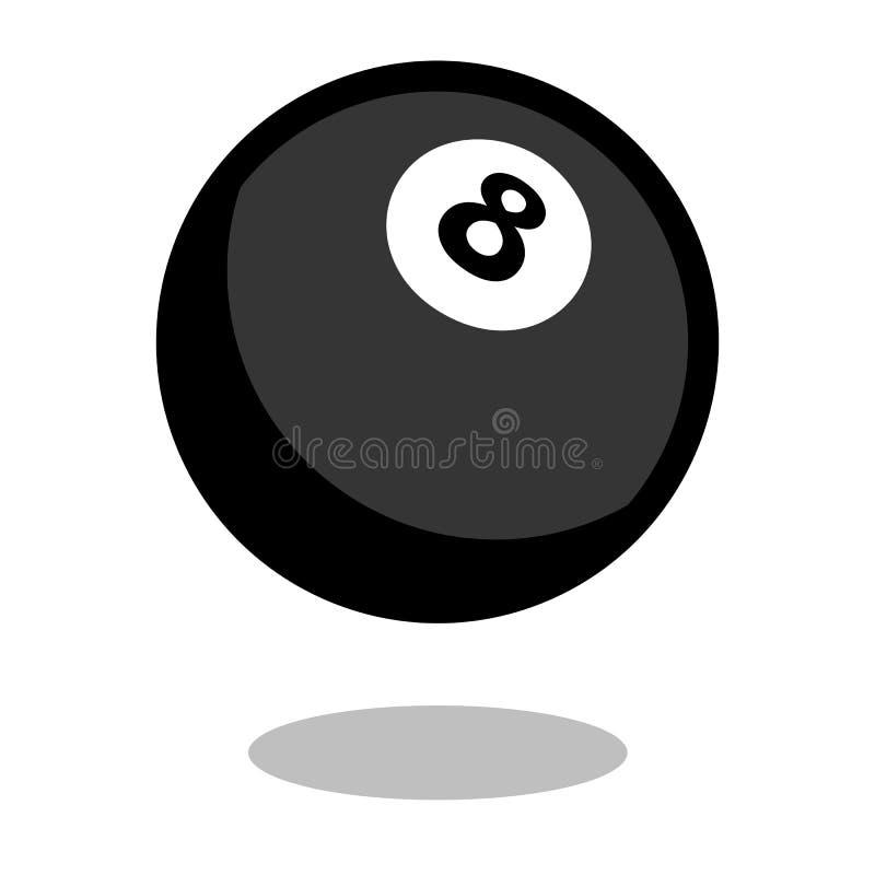 Linea icona di vettore di logo della palla del biliardo del biliardo dello snooker del gioco di stagno del gioco di 3d isolata illustrazione di stock