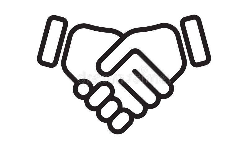 Linea icona di vettore di scossa della mano Stretta di mano di affari, accordo di associazione ed affare di amicizia illustrazione vettoriale