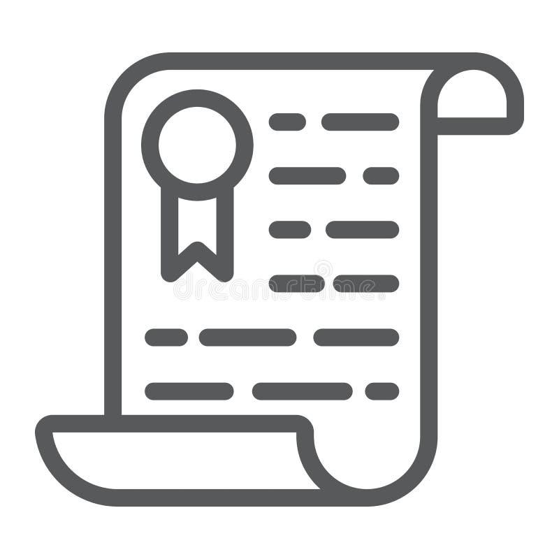 Linea icona, diploma e premio del certificato illustrazione vettoriale