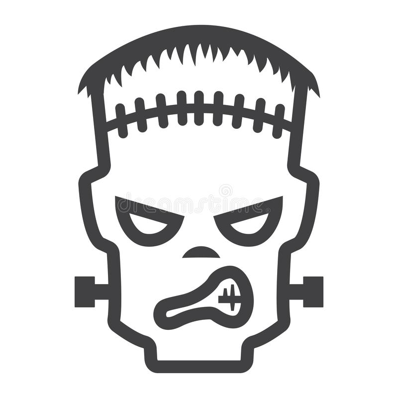Linea icona, Halloween e spaventoso di Frankenstein illustrazione di stock