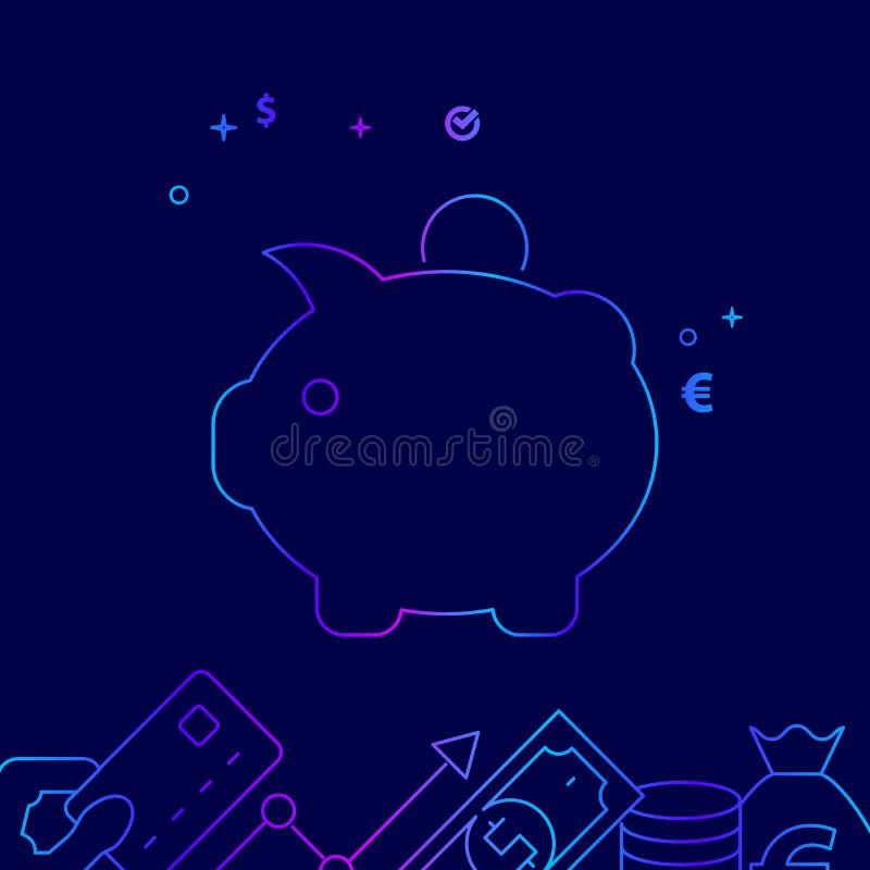 Linea icona, illustrazione di vettore del porcellino salvadanaio su un fondo blu scuro Confine inferiore relativo illustrazione vettoriale