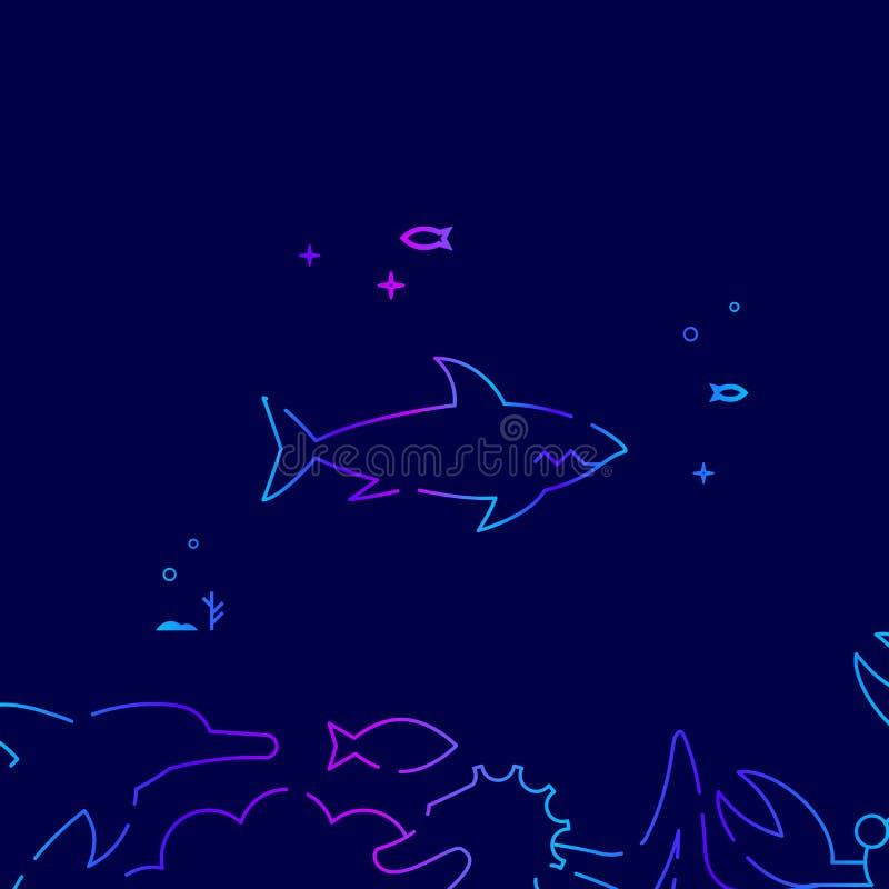 Linea icona, illustrazione di vettore dello squalo su un fondo blu scuro Confine inferiore relativo royalty illustrazione gratis