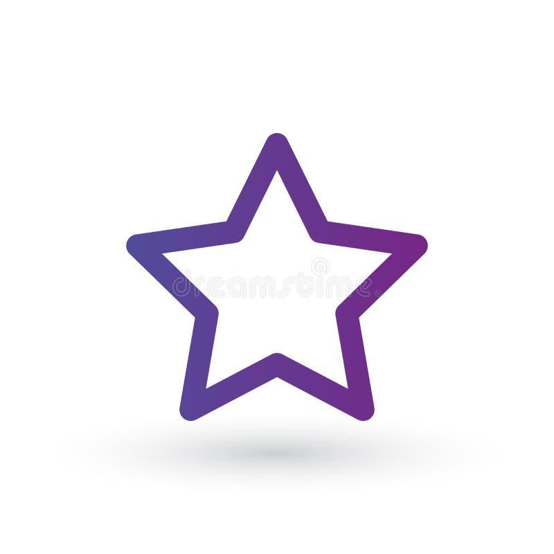Linea icona, illustrazione favorita di logo di vettore del profilo, pittogramma lineare della stella isolato su fondo bianco royalty illustrazione gratis