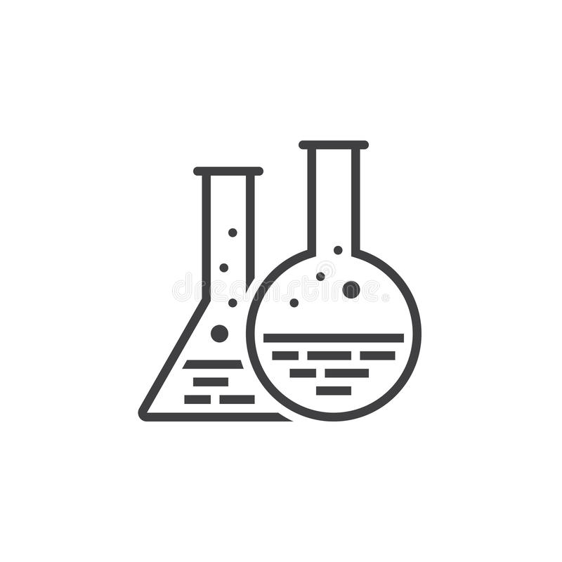 Linea icona, logo di vettore del profilo del laboratorio, picto lineare della boccetta di chimica royalty illustrazione gratis