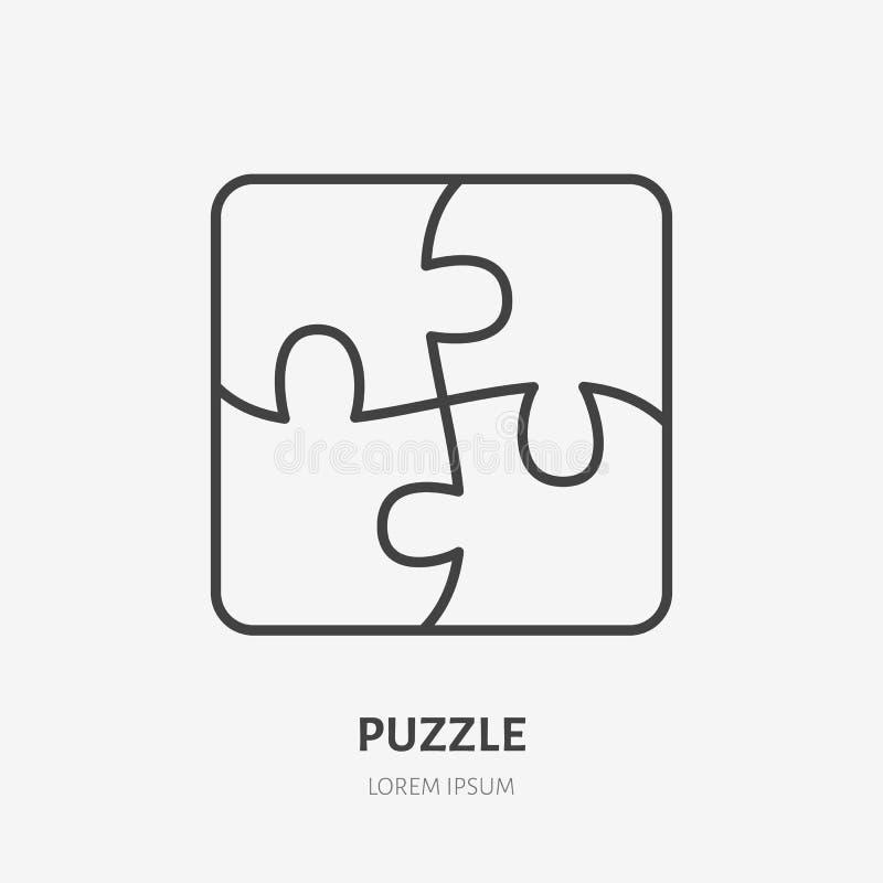Linea icona, logo piano di puzzle del mosaico Illustrazione di vettore della soluzione di affari Segno di creatività, concetto di illustrazione vettoriale