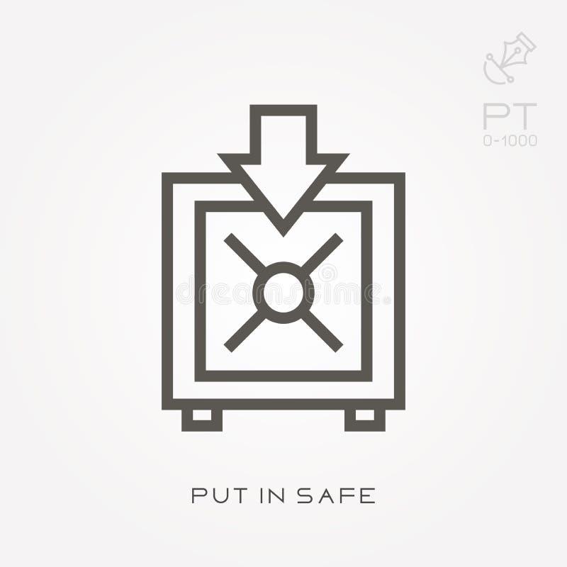 Linea icona messa in cassaforte illustrazione vettoriale