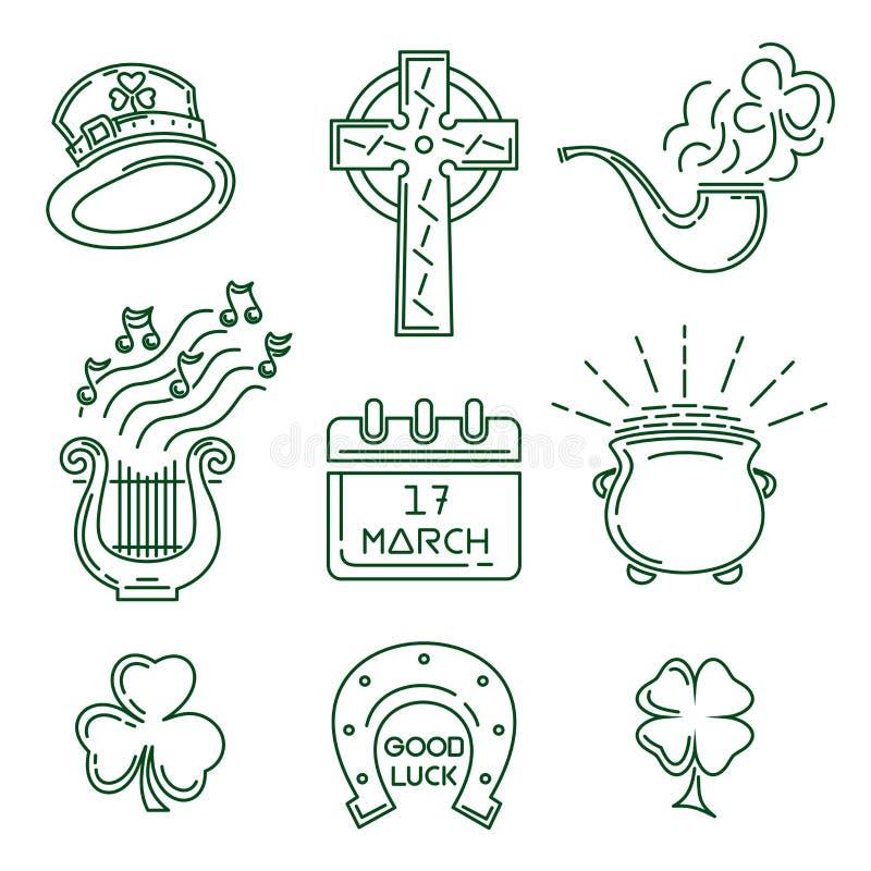 Linea icona messa per il giorno della st Patricks royalty illustrazione gratis