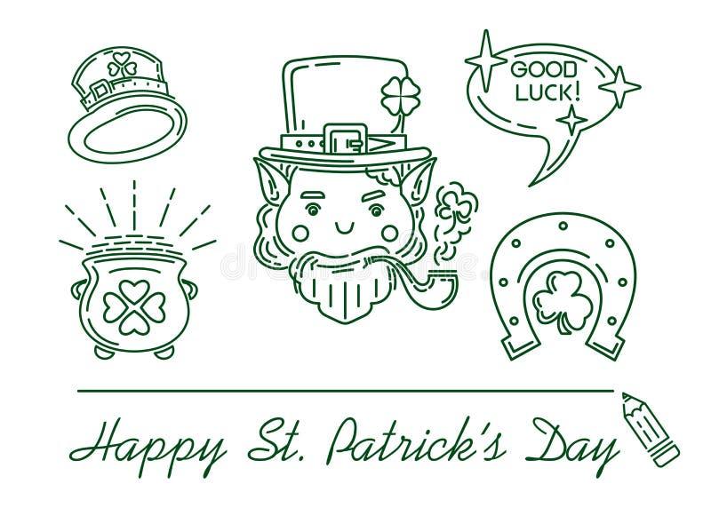 Linea icona messa per il giorno della st Patricks illustrazione vettoriale