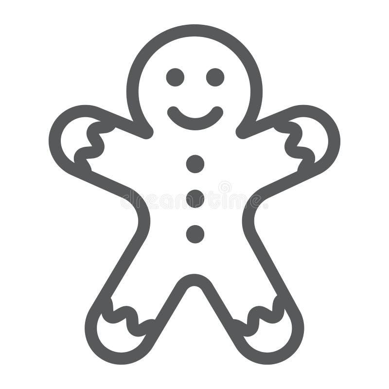Linea icona, natale e dolce dell'uomo di pan di zenzero, segno del biscotto, grafica vettoriale, un modello lineare su un fondo b illustrazione di stock