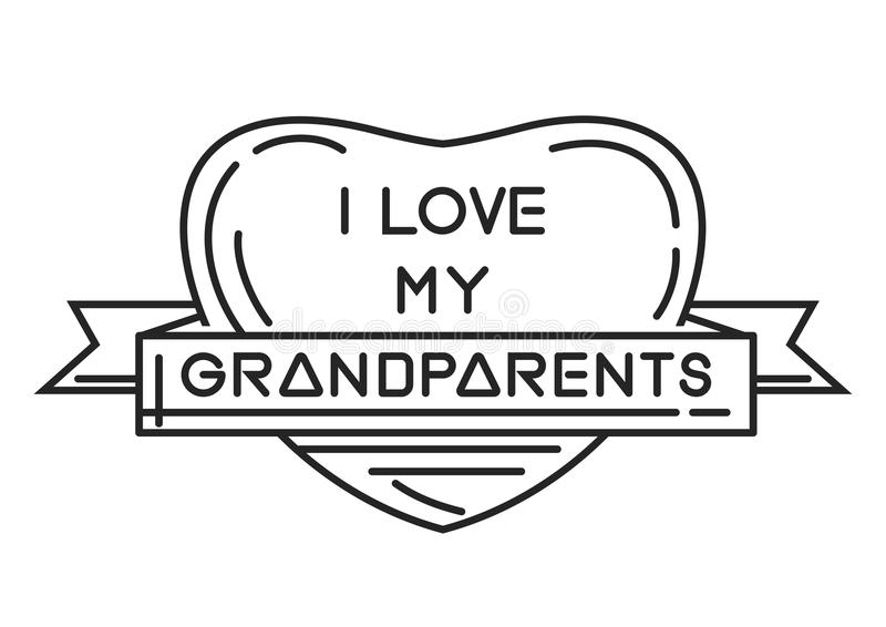 Linea icona per il giorno nazionale dei nonni illustrazione vettoriale