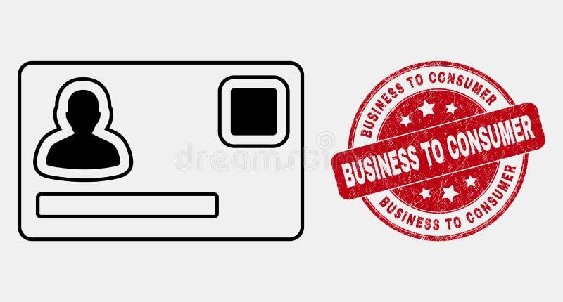 Linea icona personale di vettore della carta di credito ed affare di lerciume alla filigrana del consumatore illustrazione vettoriale