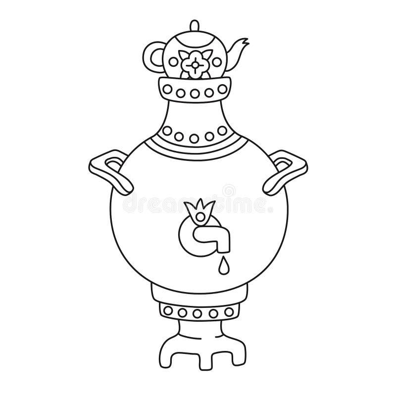 Linea icona russa di scarabocchio della samovar di vettore illustrazione vettoriale