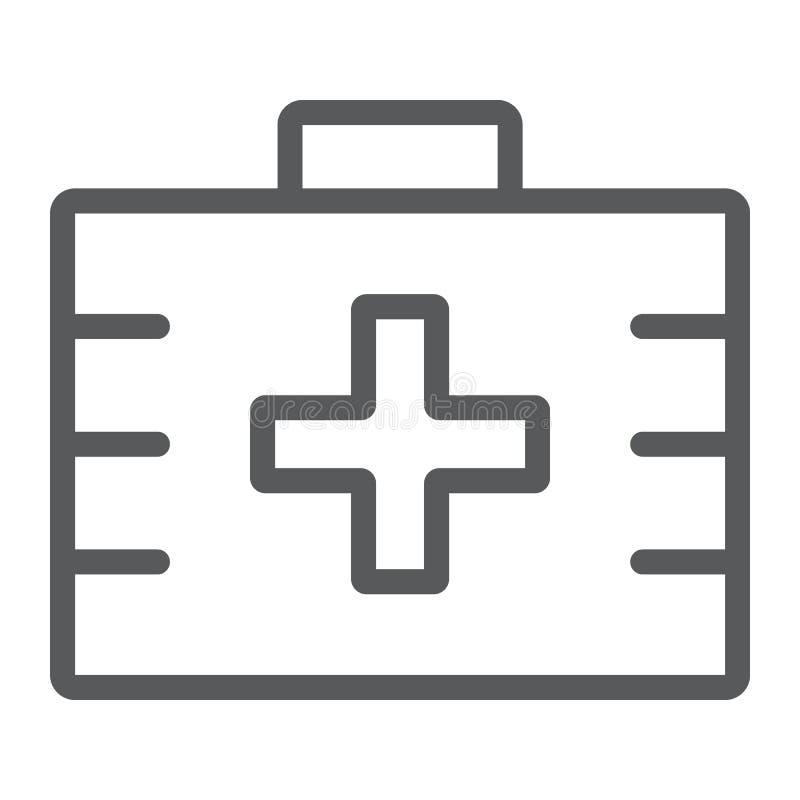 Linea icona, salute e clinico della cassetta di pronto soccorso royalty illustrazione gratis