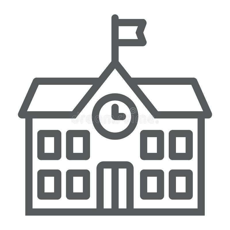 Linea icona, scuola e istruzione dell'edificio scolastico illustrazione vettoriale