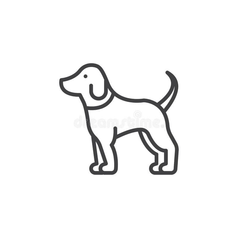 Linea icona, segno del cane di animale domestico di vettore del profilo illustrazione di stock