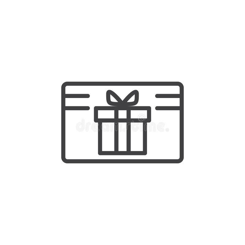 Linea icona, segno del certificato della carta di regalo di vettore del profilo illustrazione di stock