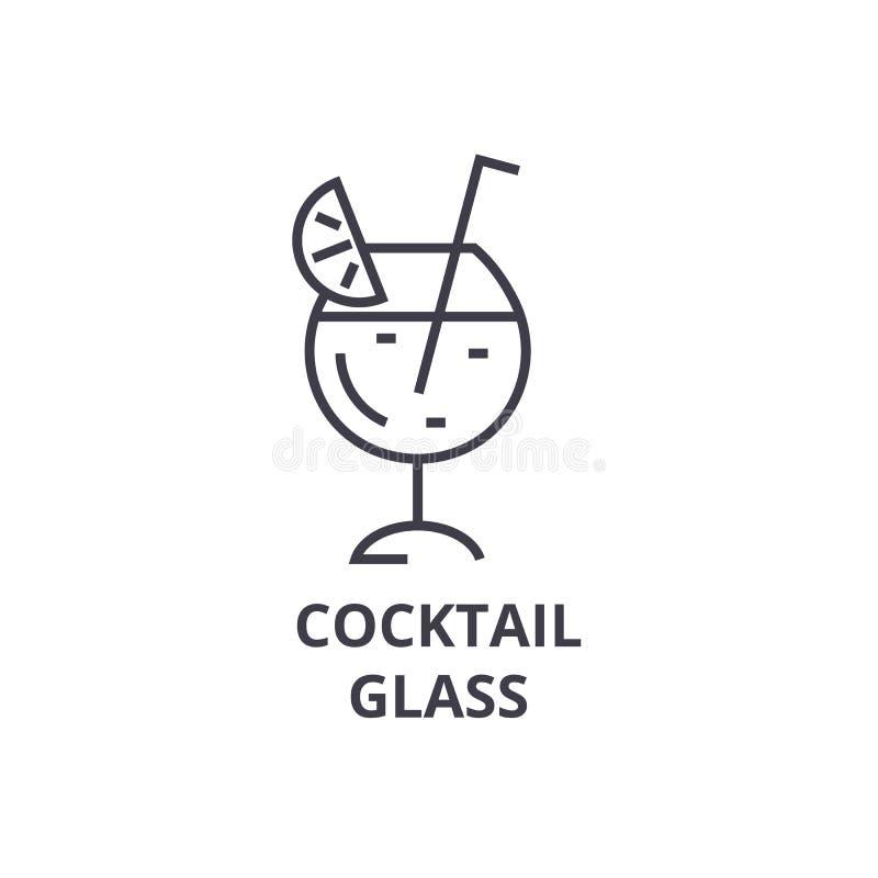 Linea icona, segno del profilo, simbolo lineare, vettore, illustrazione piana di vetro di cocktail illustrazione di stock
