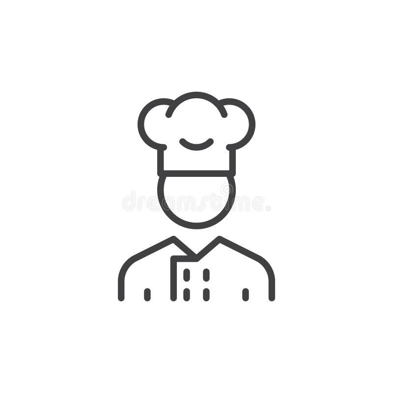 Linea icona, segno dell'uomo del fornello di vettore del profilo illustrazione di stock