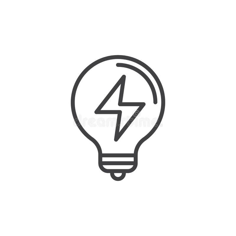 Linea icona, segno della lampadina di vettore del profilo royalty illustrazione gratis