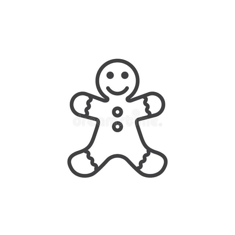 Linea icona, segno di vettore del profilo, pi lineare del biscotto dell'uomo di pan di zenzero illustrazione vettoriale