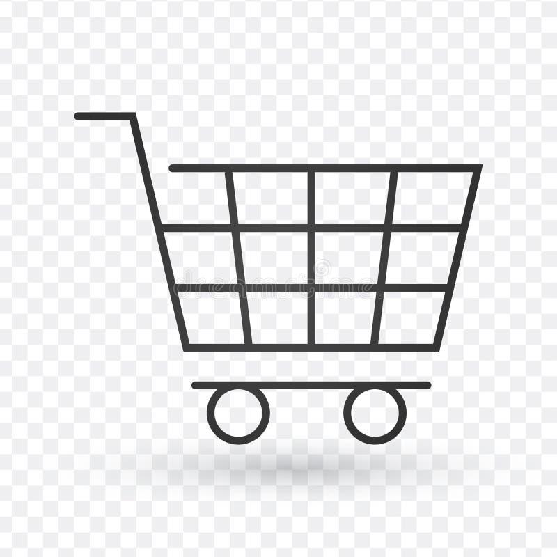 Linea icona, segno di vettore del profilo, pittogramma lineare del carrello di stile isolato su bianco Simbolo, illustrazione di  illustrazione di stock