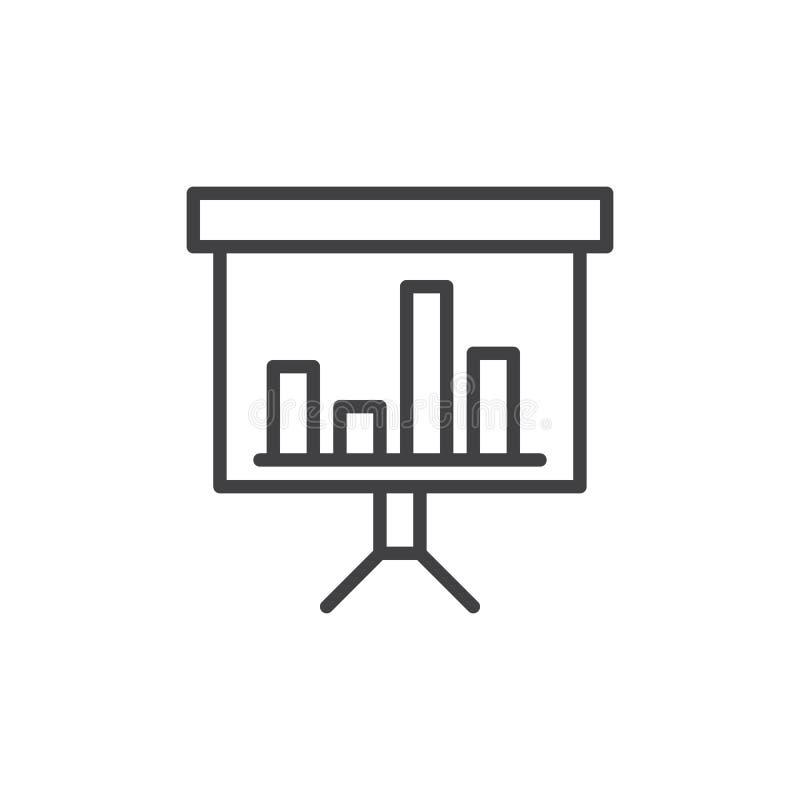 Linea icona, segno di vettore del profilo, pittogramma lineare del bordo di presentazione di stile isolato su bianco Simbolo, ill illustrazione vettoriale