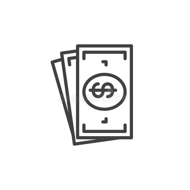 Linea icona, segno di vettore del profilo, pittogramma lineare del denaro contante di stile isolato su bianco illustrazione di stock